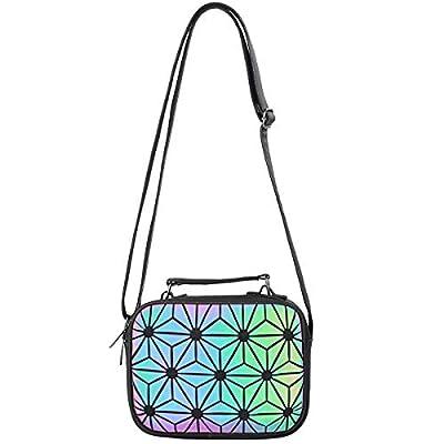 WUIOS Geometric Purses for Women Holographic Handbags Crossbody Luminous Bags