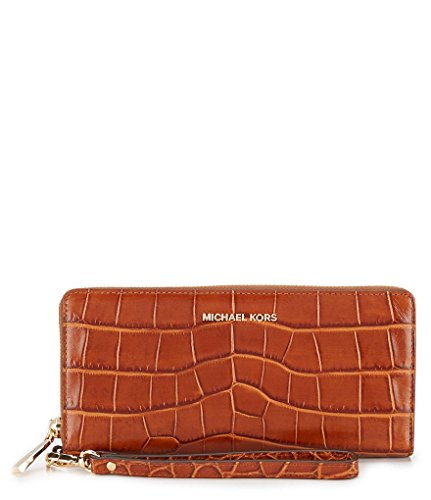 Continental Walnut - Michael Kors Travel Continental Walnut Embossed Leather Brown New