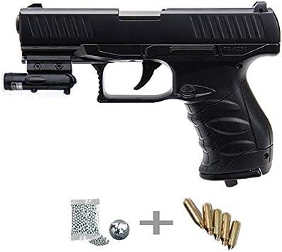 FS 1506 Kit LÁSER - Pistola de Aire comprimido (CO2) y balines de Acero (perdigones BBS) Calibre 4.5mm. Réplica Walther PPQ <3,5J