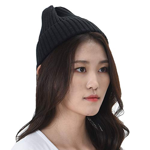 (WITHMOONS Knitted Ribbed Beanie Hat Basic Plain Solid Watch Cap AC5846 (Black))