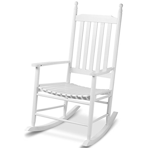 White Wood Rocking Chair Porch Rocker Patio Deck Garden Backyard Furniture (White Garden Rocker)