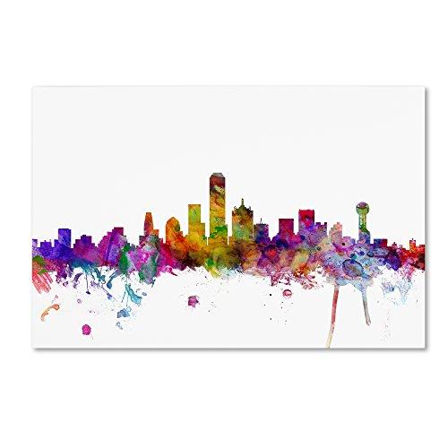 Trademark Fine Art Dallas Texas Skyline by Michael Tompsett, 22x32-Inch Canvas Wall Art (Poster Dallas Canvas)