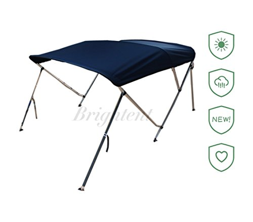 Brightent Navy Blue Bimini Top 6 Different Size 3-4 Bow Boat Canopy Cover with Free Support Poles and Towel Clips (3 Bow L6'/W67-72