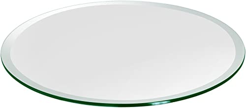 Round Glass Table Top Custom Annealed Clear Tempered 1 2 Thick Glass With Beveled Polished Edge For Dining Table, Coffee Table, Home Office Use – 30 L by TroySys