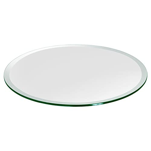 Glass Table Top 34 Round, 3 8 Thick, Beveled Edge, Polished Tempered Glass