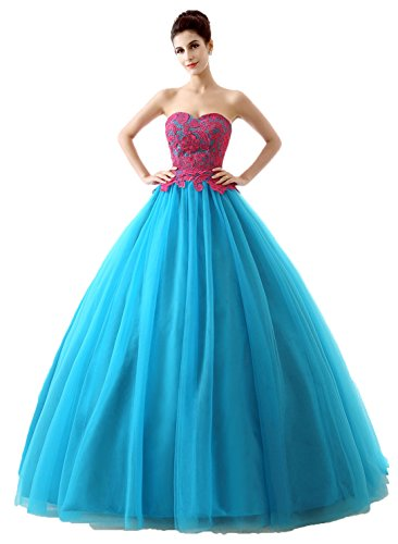 Okaybrial Women's Ball Gowns Prom Dresses Strapless Lace Top Tulle Party Evening Dress