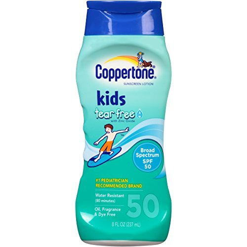 Coppertone Kids Tear Free with Zinc Oxide Broad Spectrum SPF 50, 8-Ounce Bottles (Pack of 3) by Coppertone