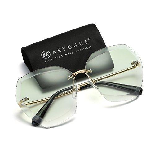 AEVOGUE Sunglasses For Women Oversized Rimless Diamond Cutting Lens Sun Glasses AE0534 (Gold&Green, - Designer Sunglasses Green