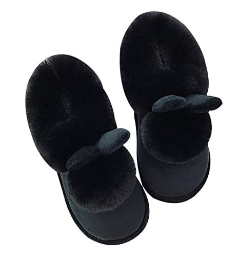 Black Indoor Lined Womens Fur Fuzzy Outdoor Slippers Warm Winter Slipper Shoes qBvS6