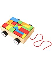 Tooky Toy Fun and Educational Learning Wooden Pull Along Building Block Toy