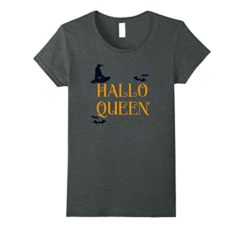 Womens Halloqueen Funny Halloween Party Idea T-Shirt Medium Dark (Funny Halloween Party Ideas)
