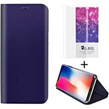 iPhone X Clear Flip Case - Hanglong iPhone X Cover Kickstand Otterbox with One Tempered Glass Screen Protector, Violet