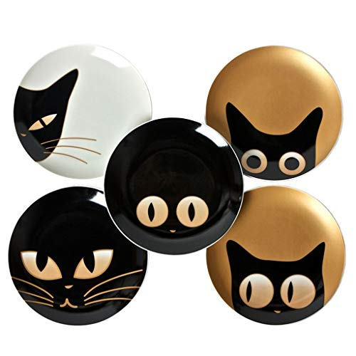 (SMC plates Cartoon cat tray fine bone china cat pattern plate plate (Color : Black))