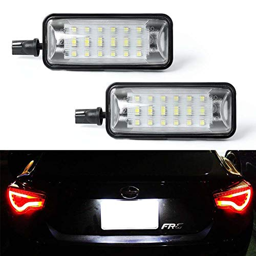 License Plate Light, GemPro 2-Pack LED License Plate Lamp Assembly for Subaru BRZ Scion FR-S Impreza WRX STi Legacy Crosstrek Toyota 86 GT-86, Powered by 18SMD Xenon White LED Lights