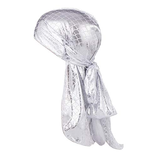 (Lmtime Unisex India Muslim Hijab Caps Fish Scale Simulation Head Hat Long Tail Pirate Hat Stretch Head Scarf Wrap (Silver))
