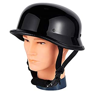 Dream Apparel Adult Helmet, Bike Helmet Skateboard Helmet German Novelty Helmet with Adjustable Chin Strap Black Motorcycle Helmet (XL)