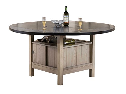 Wine Antique Rack Walnut (Acme Furniture Acme 72005 Ramona Storage Dining Table with Lazy Susan, Wine Rack, 4 Drop Leaves, Dark Walnut & Antique Beige)