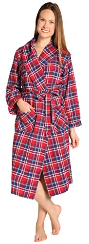 EVERDREAM Womens Flannel Robe, Shawl Collar Lightweight 100% Cotton Bathrobe, Size Large/X-Large Red (Womens Robe Plaid)