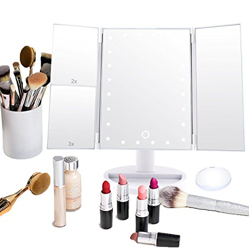 Price comparison product image Dash Led Lighted Vanity Mirror Make Up Tri-Fold with 24Pcs Lights 180 Degree Free Rotation 2X, 3X And A Removable 10X magnifying …