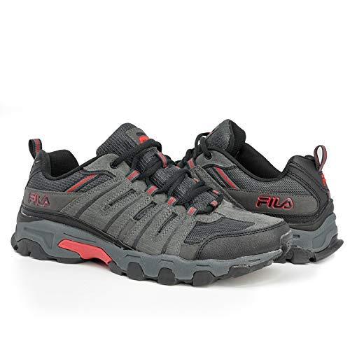 Fila Mens Westmount Hiking Outdoor Athletic Sneaker, Grey/Black/Red, 9.5
