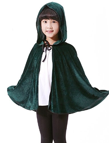 Sorrica Kids Christmas Halloween Costumes Velvet Hooded Cosplay Party Cloak (Dark Green)