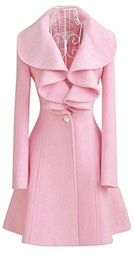 Cartiar Women's Fall Winter Woolen Falbala Collar Slim Fit Outwear Dress Coat Pink US L(Asian (Pink Coat)