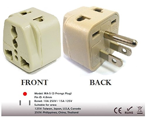 Regvolt's Ac Power Travel 2-in-1 Adapter Plug for Usa, Canada, Japan Use. Type a and B Countries