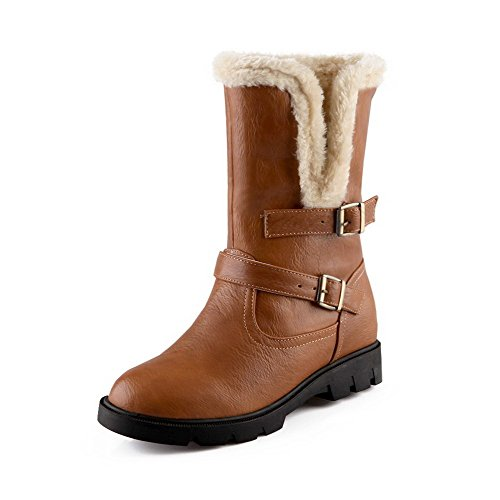AgooLar Women's Heels Toe Boots Closed Solid Round Brown Low top Kitten PU xraUxqwp