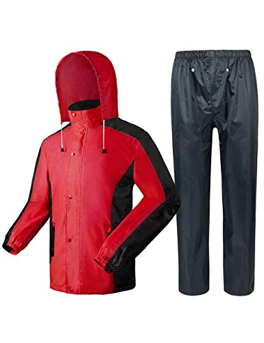Giow Hooded Raincoat Waterproof Ultra-Lite Suits Raincoat Male Adult Outdoor Work Theme Park Red