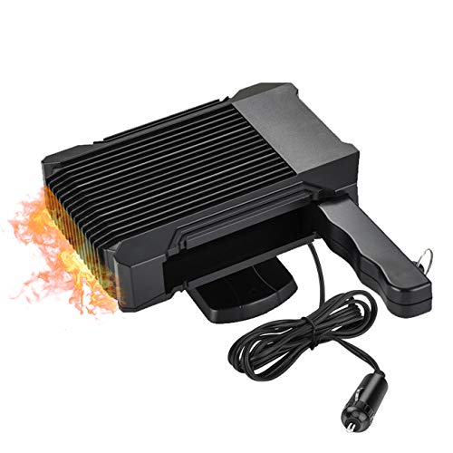 DUTISON Portable Car Heater Fan - 12V Fast Heating Car Defogger Defrost with Heating&Cooling Function Auto Heater Fan Ceramic Space Heater- Black