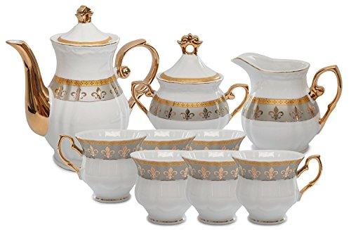 Royalty Porcelain 15pc Fleur-de-Lis Tea Set, Service for 6,