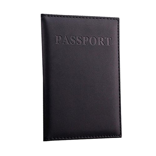 SHL Fashion Men Women Travel Passport Case ID Card Cover Holder Protector Organizer Credit Card Holder (Black)