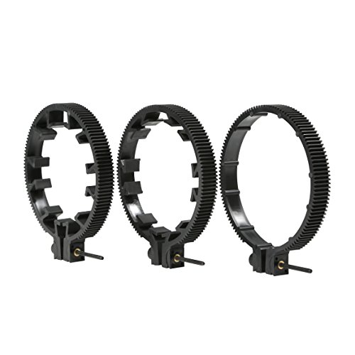 Movo FR3 Adjustable 3-Piece Follow Focus Ring Gear Set - Includes 65mm, 75mm and 85mm Lens Rings (Standard 32 pitch - 0.8 mod) (Pitch Lever Set)
