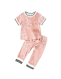 Luonita 2PCs Newborn Kid Baby Girls Short Sleeve Solid Velour Tops +Pants Outfits Sets Suits 12M-5T