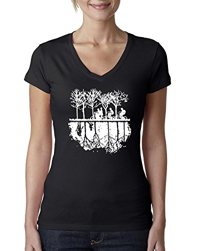 (Upside Down Bike Silhouette | White | Womens Pop Culture Junior Fit V-Neck Tee Graphic T-Shirt, Black, Medium)