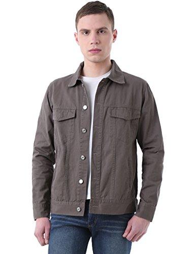 uxcell Men Flap Chest Pockets Button Closure Front Denim Jackets Large Warm Grey