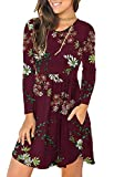 Unbranded* Women's Floral Print Long Sleeve Pocket Casual Loose T-Shirt Dress Floral Wine Red X-Large