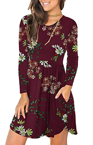 Unbranded* Women's Floral Print Long Sleeve Pocket Casual Loose T-Shirt Dress Floral Wine Red Small