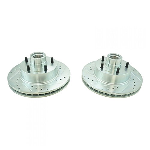 Front Performance Drilled Slotted Zinc Coated Disc Brake Rotor Pair