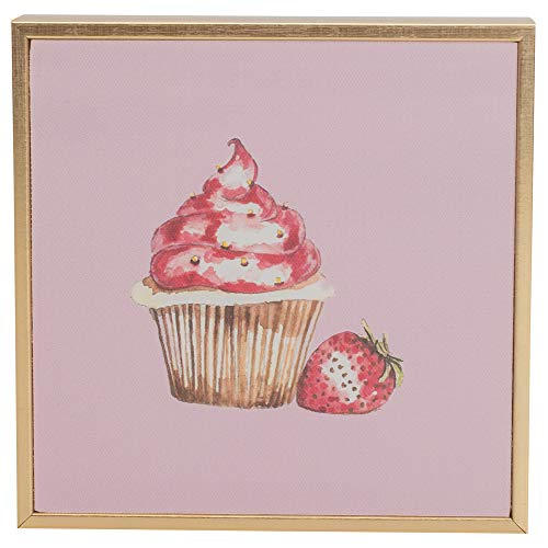 Ever Ellis Cupcake Mini Canvas Art Pink And Gold 6 x 6 Polycast Tabletop or Wall Plaque