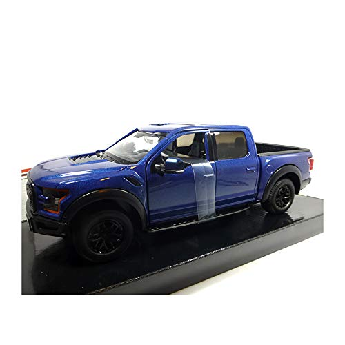 (2017 Ford F-150 Raptor Pickup Truck Blue with Black Wheels 1/27 Diecast Model Car by Motormax)