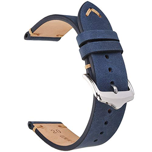 Blue Leather Strap - EACHE 20mm Genuine Leather Watch Band Dark Blue Crazy Horse Replacement Straps