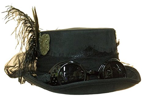 Deluxe Velvet 4.25 Inch Steampunk Top Hat with Removable Goggles - Goggles Top