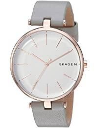 Women's Quartz Stainless Steel and Leather Casual Watch, Color Grey (Model: SKW2710)
