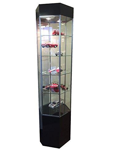 Tower Showcase Hexagon Display Case 4 Glass Shelves Ships Assembled Black NEW