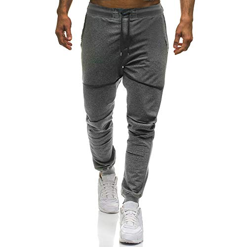 Pants For Men, Clearance Sale! Pervobs Mens Fashion Casual Stretch Solid Drawstring Holes Sport Pants Sweatpants(XL, Dark Gray) by Pervons Mens Pant