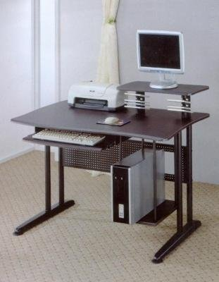 Computer Workstation Desk With Tons Of Work Space, CD Rack And Keyboard Tray In Black Finish. (Item# Vista Furniture CF800244)