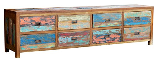 CHIC TEAK Chest with 8 Drawers Made from Recycled Boats Made