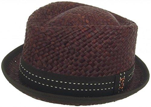 Who Ced Loughborough Raffia Straw Diamond Crown Hat (Brown, Medium) ()
