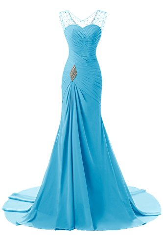 Evening ALAGIRLS Long Mermaid Gowns Formal Womens Prom Blue Dresses Chiffon Party rxYZr7